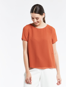 Whistle Tailored Double-Layer Short-Sleeve Top, Bronze product photo