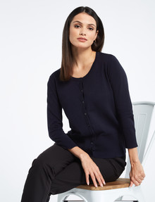 Whistle Tailored 3/4 Sleeve Crew Neck Cardigan, Ink product photo