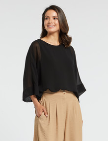 Whistle 3/4 Sleeve Overlay Top, Black product photo