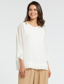 Whistle 3/4 Sleeve Overlay Top, Ivory product photo