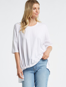 Mineral Drawn Elbow-Sleeve Tee, White product photo