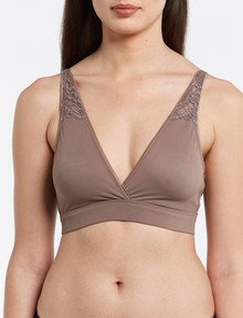 Lyric Wirefree Soft Touch Lace Trim Bra, Toffee product photo