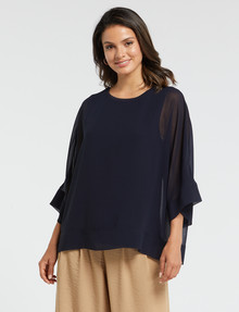 Whistle 3/4 Sleeve Overlay Top, Navy product photo