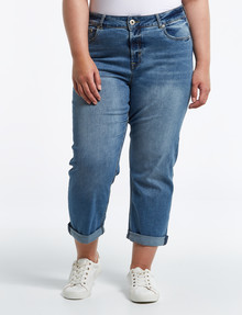 Denim Republic Curve Mom Jean, Mid Wash Blue product photo