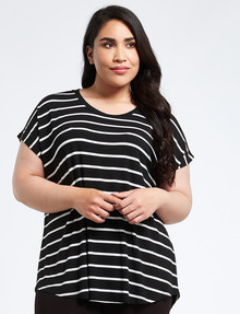 Wild Child Stripe Boxy Tee, Black & White product photo