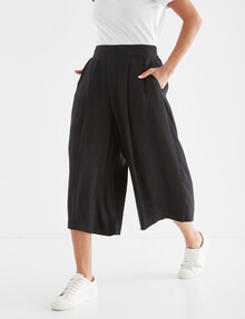Whistle Shorter-Length Viscose Culotte Pant, Black product photo