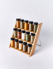 Baccarat Mellah Bamboo Spice Jar Rack & Set of 15 Full Jars product photo