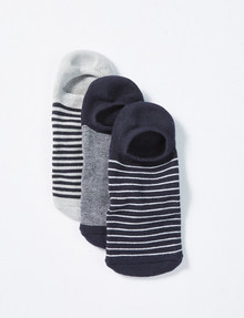 Mazzoni No Show Stripe Socks, 3-Pack, Navy product photo