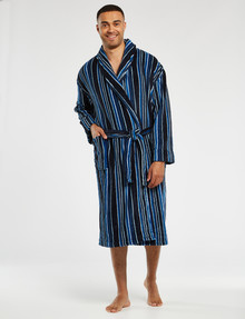 Chisel Fleece Striped Robe, Navy product photo