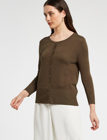 Whistle Tailored 3/4 Sleeve Crew-Neck Cardigan, Olive product photo