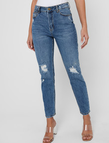 ONLY Emily Life High-Waist Straight Crop Jean, Blue product photo