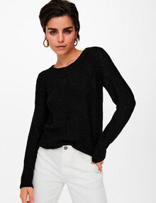 ONLY Geena XO Long-Sleeve Knit Pullover, Black product photo