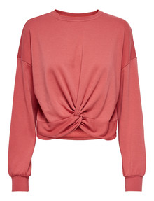 ONLY Carla Long-Sleeve Twist-Front Sweatshirt, Mineral Red product photo