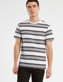 Tarnish Yarn Dyed Stripe Tee, White product photo