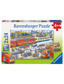 Ravensburger Puzzles Busy Train Station, 2 x 24 Piece Puzzles product photo