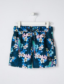 Wavetribe Tropical Birds Swim Short, Teal product photo