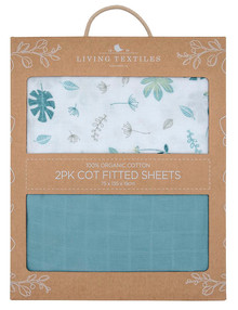 Living Textiles Cot Sheets, 2-Pack, Botanicals product photo