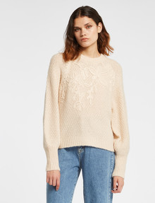 Y.A.S Apiri Long Sleeve Knit Pullover, Whisper Pink product photo