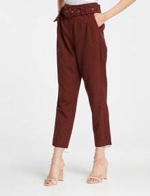 Y.A.S Rustica High-Waisted Ankle Pant, Rum Raisin product photo