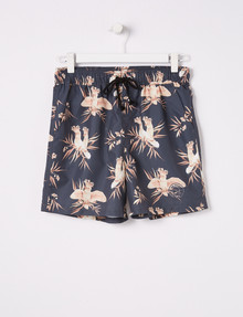 No Issue Bird Print Volly Short, Faded Black product photo
