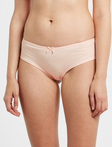 Lyric Cheeky Cotton with Lace Trim Boyleg Brief, Peach product photo
