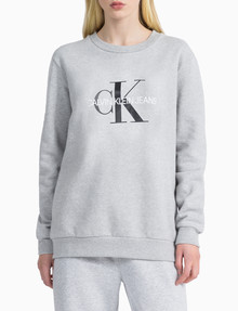 Calvin Klein Monogram Logo Sweatshirt, Light Grey Heather product photo
