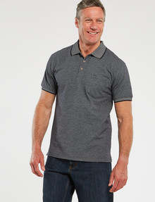 Chisel Short-Sleeve Jacquard Polo, Light Navy product photo