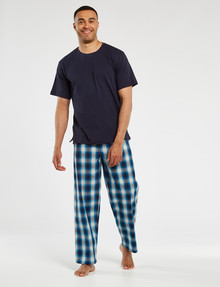 Mazzoni Crew Neck Top & Woven Check Pant PJ Set, Blue product photo