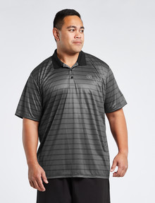 Gym Equipment King S Honeycomb Stripe Polo, Black product photo