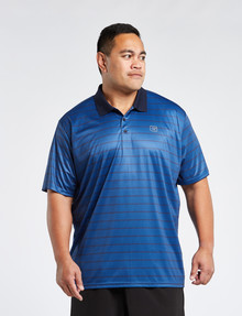 Gym Equipment King S Honeycomb Stripe Polo, Navy product photo