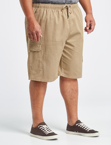 Chisel King Size Elastic Waist Cargo Short, Tan product photo