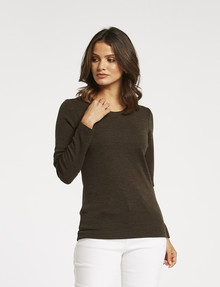 North South Merino Long-Sleeve Round-Neck Top, Khaki product photo