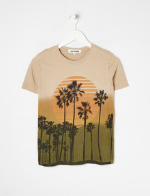 No Issue Palm Print Dip Dye Tee, Sunset product photo