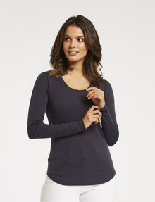 North South Merino Long-Sleeve Scoop-Neck Top, Denim product photo