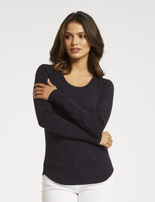 North South Merino Long-Sleeve Scoop-Neck Top, Midnight product photo