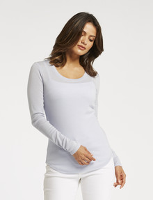 North South Merino Long-Sleeve Scoop-Neck Top, Ice Blue product photo