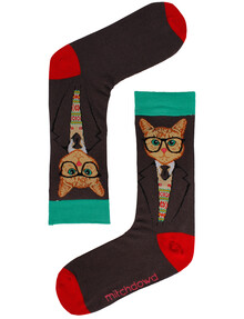 Mitch Dowd Men's Dapper Cat Jacquard Crew Sock, Charcoal product photo
