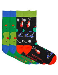 Mitch Dowd Men's Golfer Crew Sock, 2-Pack, Black & Green product photo