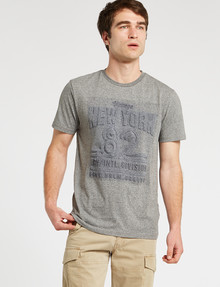 Tarnish Embossed NYC Tee, Grey Marle product photo