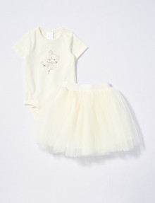 Teeny Weeny Prima Ballerina Bodysuit & Tutu Skirt Set, Ivory product photo