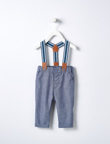 Teeny Weeny Chambray Trouser & Braces Set, Blue product photo