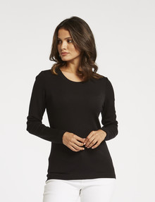 North South Merino Long-Sleeve Round Neck Top, Black product photo