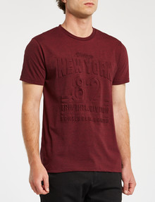 Tarnish Embossed NYC Tee, Red Marle product photo
