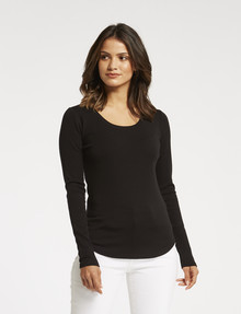 North South Merino Long-Sleeve Scoop-Neck Top, Black product photo