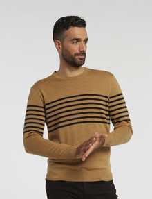 North South Merino Contrast Middle Stripe Jumper, Sand product photo