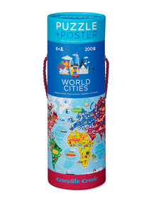 Crocodile Creek Puzzle+Poster, World Cities, 200-Piece product photo