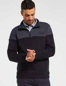 Line 7 Chriss Colour-Block 1/4 Zip Fleece Top, Blue Marle product photo