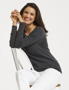 North South Merino Long-Sleeve Round Neck Top, Spruce product photo