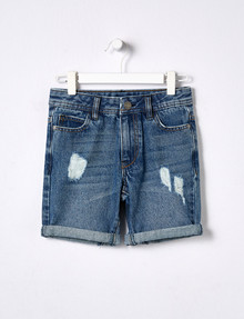 Mac & Ellie Denim Bermuda Distressed Short, Mid Blue product photo