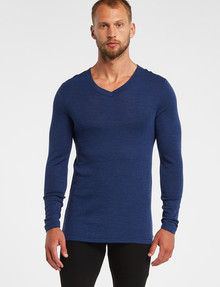 Superfit Long Sleeve V-Neck Thermal Top, Navy product photo